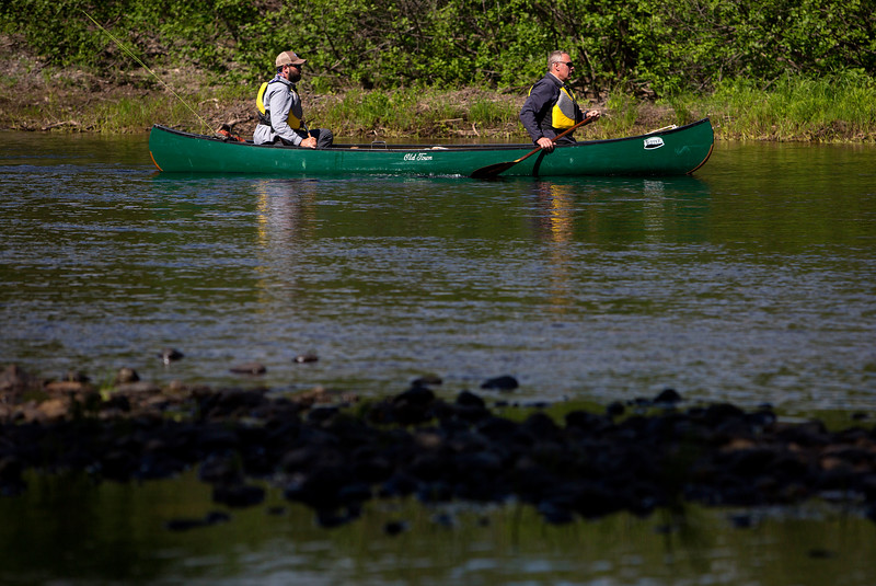 KATAHDIN WOODS AND WATERS NATIONAL MONUMENT, Maine -- 06/14/2017 - U.S. Secretary of the Interior Ryan Zinke (right) and Lucas St. Clair canoe during a tour of the Katahdin Woods and Waters National Monument Tuesday. The visit was the start of a four-day visit to New England. Katahdin Woods and Waters National Monument is currently under  review via President Trump's Executive Order 13792, issued April 26, 2017. Ashley L. Conti | BDN