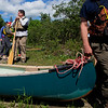 KATAHDIN WOODS AND WATERS NATIONAL MONUMENT, Maine -- 06/14/2017 - U.S. Secretary of the Interior Ryan Zinke (left) prepares to go for a canoe trip during a tour of the Katahdin Woods and Waters National Monument Tuesday. The visit was the start of a four-day visit to New England. Katahdin Woods and Waters National Monument is currently under  review via President Trump's Executive Order 13792, issued April 26, 2017. Ashley L. Conti | BDN