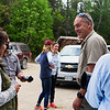 KATAHDIN WOODS AND WATERS NATIONAL MONUMENT, Maine -- 06/14/2017 - U.S. Secretary of the Interior Ryan Zinke (right) smile with with Anita Mueller during a tour of the Katahdin Woods and Waters National Monument Tuesday. The visit was the start of a four-day visit to New England. Katahdin Woods and Waters National Monument is currently under  review via President Trump's Executive Order 13792, issued April 26, 2017. Ashley L. Conti | BDN