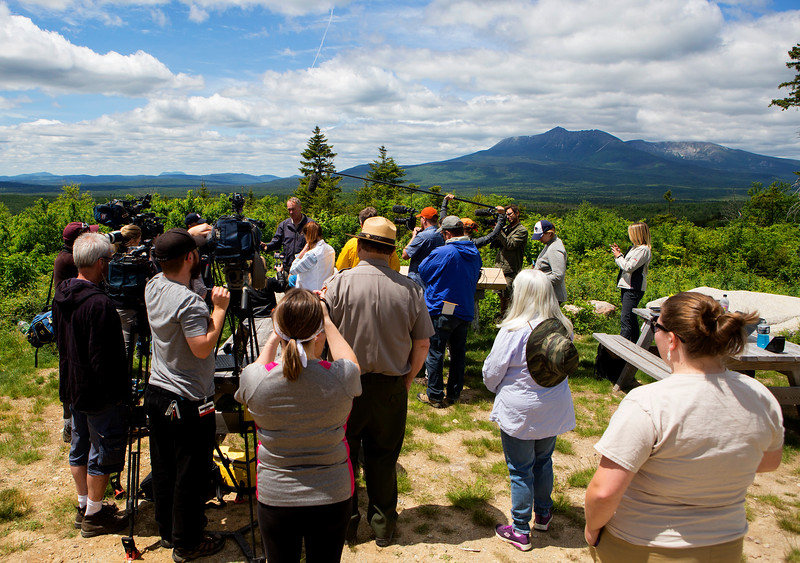KATAHDIN WOODS AND WATERS NATIONAL MONUMENT, Maine -- 06/14/2017 - U.S. Secretary of the Interior Ryan Zinke (right) listens to questions during a question and answer portion during a tour of the Katahdin Woods and Waters National Monument Tuesday. The visit was the start of a four-day visit to New England. Katahdin Woods and Waters National Monument is currently under  review via President Trump's Executive Order 13792, issued April 26, 2017. Ashley L. Conti | BDN