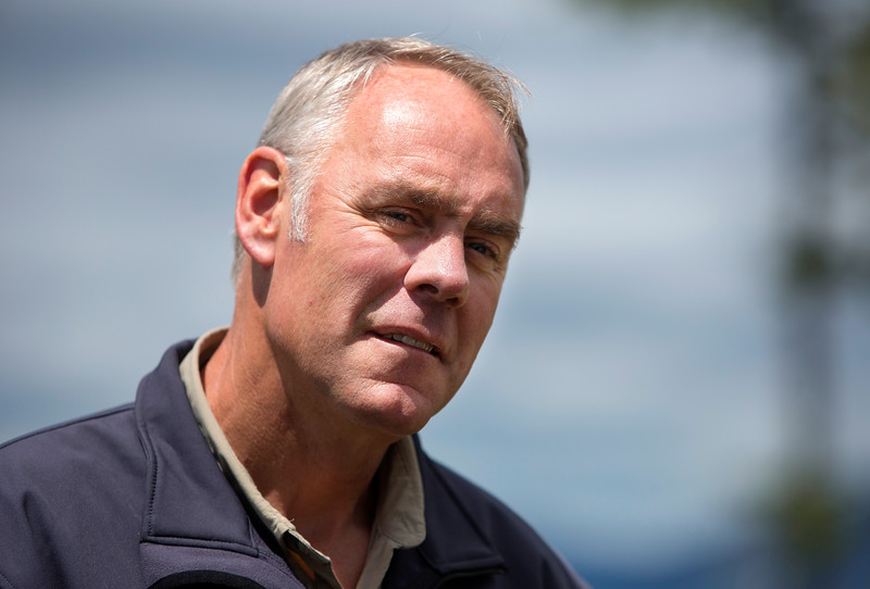KATAHDIN WOODS AND WATERS NATIONAL MONUMENT, Maine -- 06/14/2017 - U.S. Secretary of the Interior Ryan Zinke listens to questions as part of a question and answer with media during a tour of the Katahdin Woods and Waters National Monument Tuesday. The visit was the start of a four-day visit to New England. Katahdin Woods and Waters National Monument is currently under  review via President Trump's Executive Order 13792, issued April 26, 2017. Ashley L. Conti | BDN