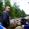 KATAHDIN WOODS AND WATERS NATIONAL MONUMENT, Maine -- 06/14/2017 - U.S. Secretary of the Interior Ryan Zinke (center) chats with Ryan Linn (left), Josh Corbin, and Kelly Corbin during a tour of the Katahdin Woods and Waters National Monument Tuesday. The visit was the start of a four-day visit to New England. Katahdin Woods and Waters National Monument is currently under  review via President Trump's Executive Order 13792, issued April 26, 2017. Ashley L. Conti | BDN