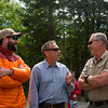 KATAHDIN WOODS AND WATERS NATIONAL MONUMENT, Maine -- 06/14/2017 - U.S. Secretary of the Interior Ryan Zinke (right) speaks with Matthew Polstein, Katahdin region business man, and Lucas St. Clair during a tour of the Katahdin Woods and Waters National Monument Tuesday. The visit was the start of a four-day visit to New England. Katahdin Woods and Waters National Monument is currently under  review via President Trump's Executive Order 13792, issued April 26, 2017. Ashley L. Conti | BDN