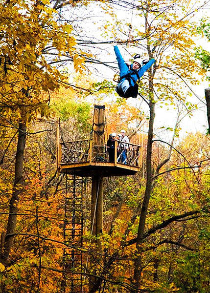 Triple pole tree house zip line