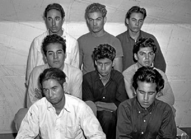 . Group portrait of eight Mexican American males taken in for questioning in the 1942 Sleepy Lagoon murder investigation, Los Angeles, Calif. (Special Collections, UCLA Library)