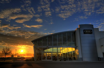 Sunrise at Maplewood Audi.  One of the only dealership photos I have taken; Maplewood Audi. This is a 7 bracket shot, combined in PhotoMatix.
