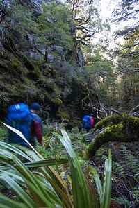 Through a gulch in the ridge.
