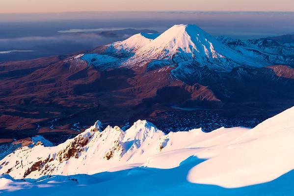 Te Heu Heu Pinnacles and Mt Ngauruhoe.