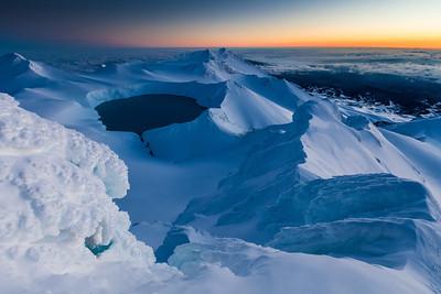 Ruapehu summit plateau and crater lake.