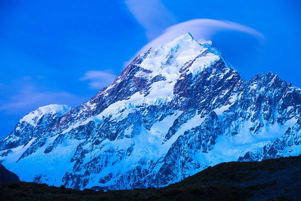 South Faces: Mt Hicks, Aoraki Mount Cook and Nazomi. 15 second twilight exposure.