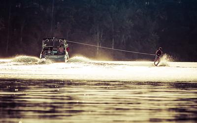 Water Skiing at Sunset