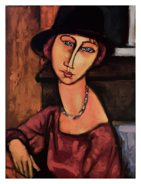 jeanne hebuterne with black hat