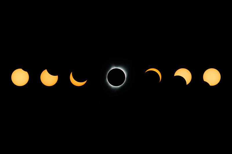 Total Solar Eclipse Composition 7 Photos