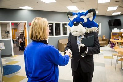 Sycamore Sam in business attire for promotions for Career Center
