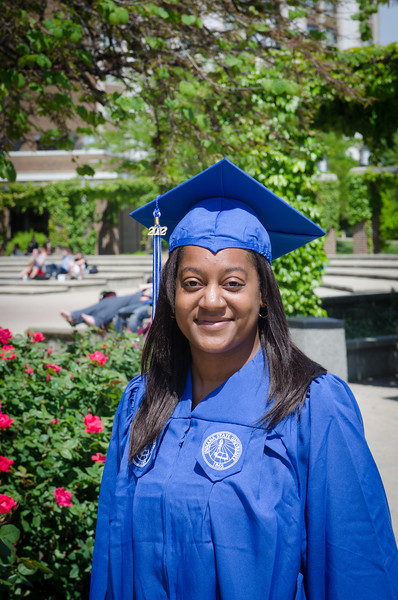 photos of student in cap and gown in weeks before 2012 Spring Commencement