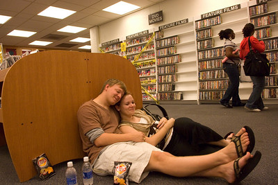 Sophomore Brad Marcy and Freshmen Margaret Henretty take a break from the 2007 Library Extravaganza held at Cunningham Memorial Library on Thursday, September 6.