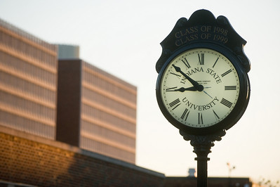 alumni, clock, night