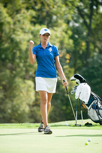 The women's golf team practices at Terre Haute Country Club in 2013