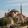 The remarkable Hagia Sophia ('Holy Wisdom') in Istanbul, Turkey. It was built in 537 A.D. and was the largest church in the world for over a thousand years. Later it became a mosque and the four minarets were added. Now it's a museum.
