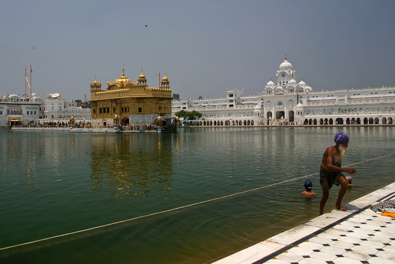 The Golden Temple (officially Harmandir Sahib) in Amritsar, completed in 1604, is the most sacred site of the Sikh religion. The temple's exterior is completely overlaid with pure gold.