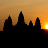 Sunrise over the main temple of Angkor Wat in Siem Reap, Cambodia. Although Cambodia is now a predominantly Buddhist country, the ruined temples that form the Angkor Wat complex were mostly build around the 12th century by Hindu rulers.