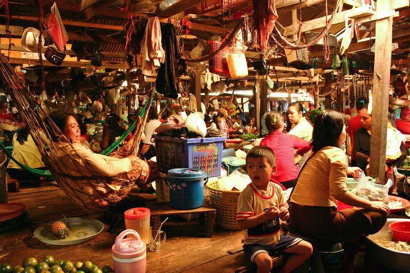 A covered market in Koh Kong, Cambodia