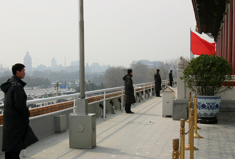 Soldiers stand guard at the Forbidden City, Beijing