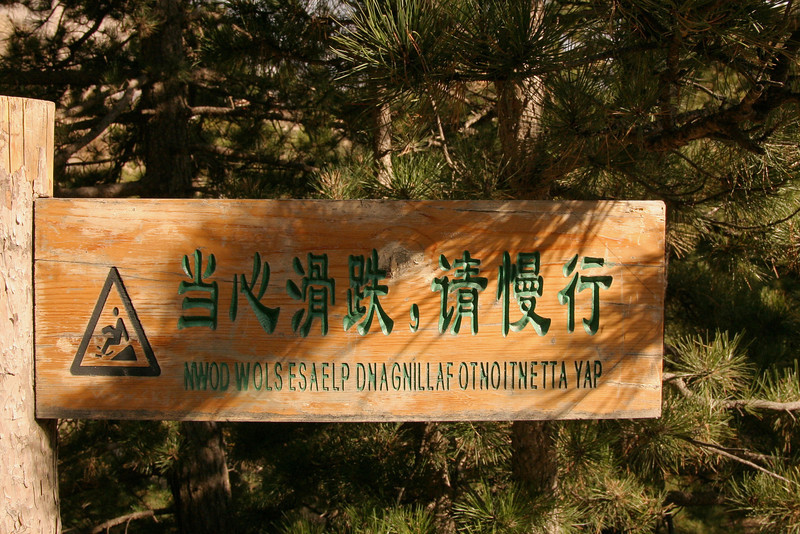 We saw this sign in Ningxia, western China. Look at the English part carefully. (No, I did not flip this in Photoshop - this is really how it was!)