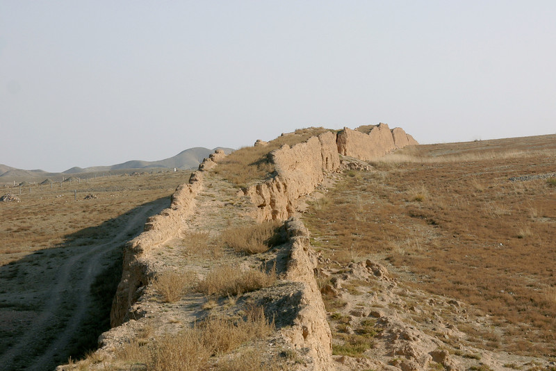 Ancient section of the Great Wall in Ningxia, western China. This part of the Wall was built during the Qin dynasty, around 200 B.C. It's very remote and completely abandoned, so exploring it was amazing.