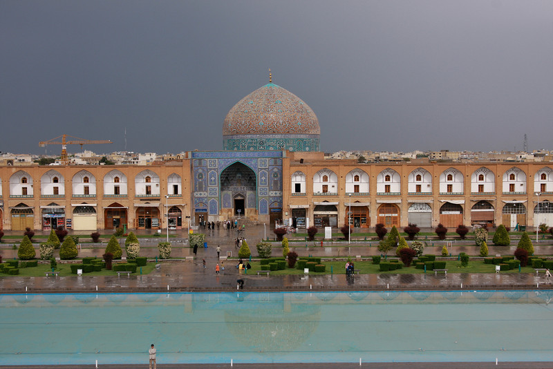 """The Sheikh Lotf Allah Mosque in Esfahan's Imam Square. This mosque is one of the most beautiful buildings I've seen anywhere in the world - especially on the inside. If you view this image at """"original"""" resolution you can see the beautiful tile mosaic and Arabic calligraphy on its dome."""