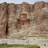 These fantastic rock-hewn tombs in Iran, known as Naqsh-e-Rostam, mark the resting places of Darius I, Darius II, Xerxes I and Artaxerxes I. Unfortunately they were looted by that infamous pillager, Alexander the Great, when he came through around 300 B.C.