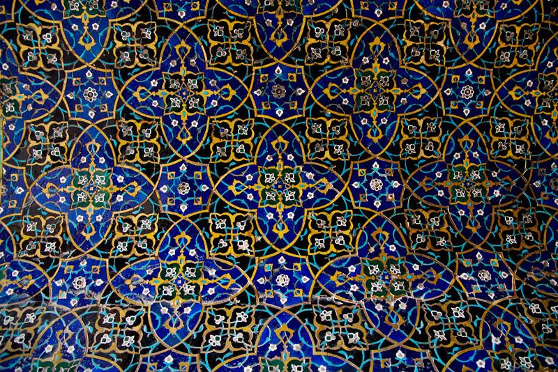 Elaborate tile mosaics on a wall in the Masjid-e-Jameh, Esfahan