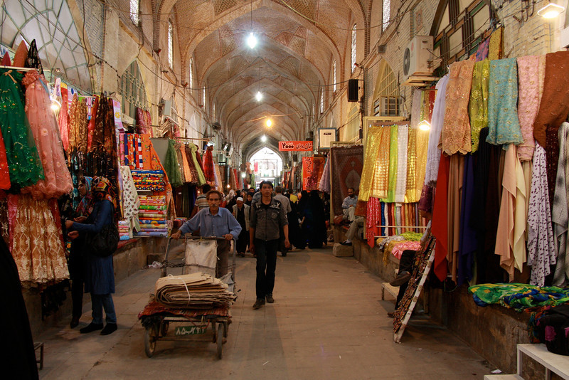 An ancient covered bazaar in Shiraz, still busy to this day