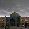 A storm brews behind the Sheikh Lotf Allah Mosque in Esfahan's Imam Square. What awaited us inside this unassuming little mosque was astounding...