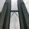 The Petronas Towers, rising almost 1500 feet above the ground in Kuala Lumpur, Malaysia