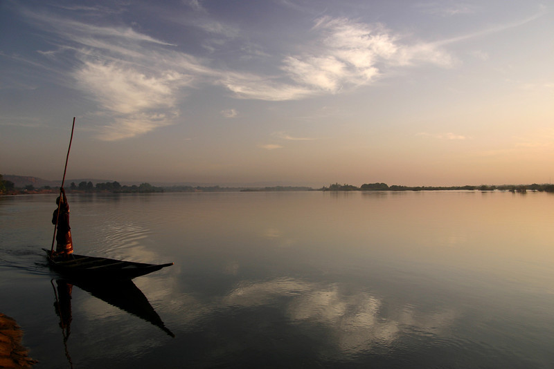 The Niger River just outside of Bamako, Mali is serene in the early morning