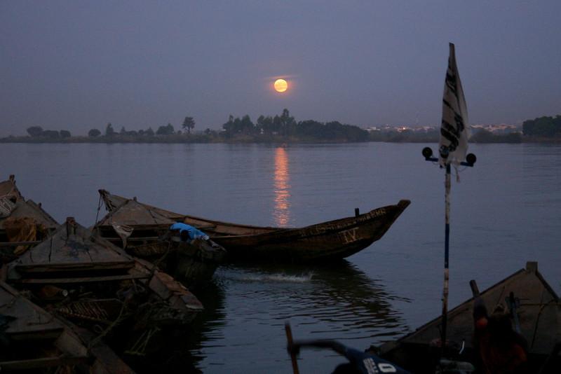 Moonrise over the Niger River, Mali