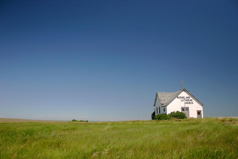 A quaint abandoned church on the prairie in North Dakota