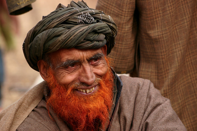 A Gujjar elder in Kashmir. Men often like to die their beards with henna.