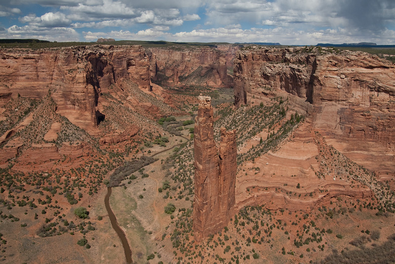 Canyon de Chelly National Monument, in eastern Arizona.  Spider Rock rises 800 feet above the canyon floor.