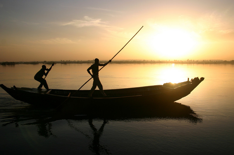 Sunrise over the Niger River in Bamako, Mali.