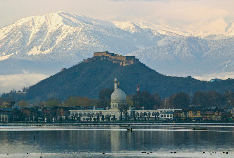 Hazratbal, on Dal Lake, is one of the most important mosques in Kashmir. Behind it is Hari Parbat Fort, built in 1808 and still an important military site.