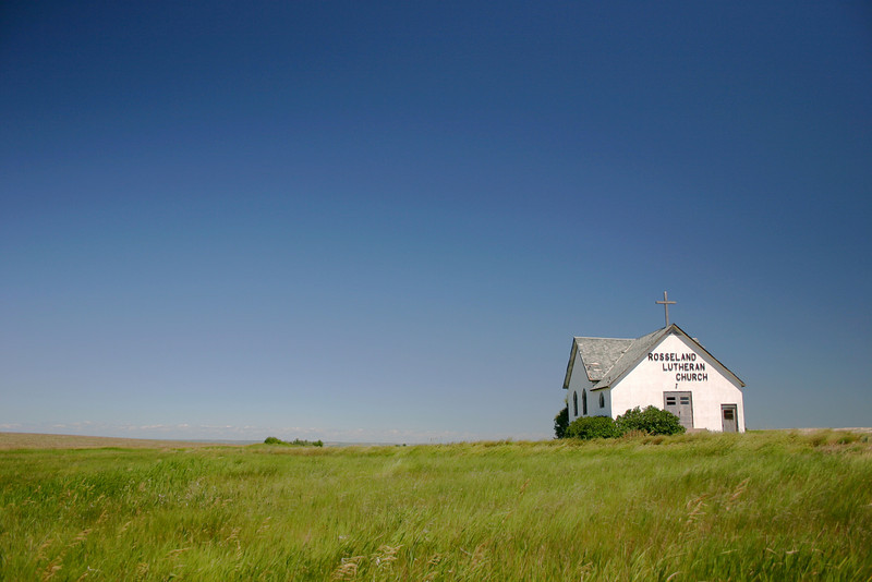 A quaint abandoned church on the prairie in North Dakota