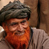 A Gujjar elder in Kashmir. Men often like to die their beards with henna.