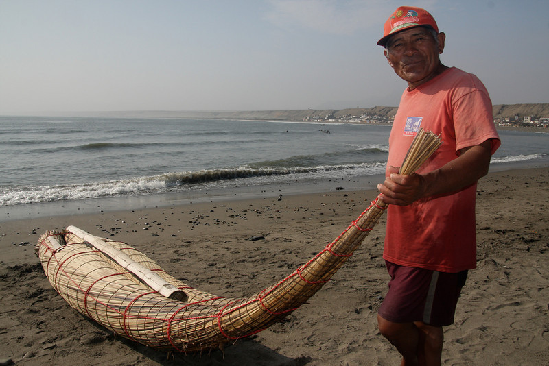 These traditional reed boats have been used for fishing for the last 2000 years - they can tell because there are depictions of them on ancient pottery fragments. This picture is from Huanchaco, a beach village near Trujillo.
