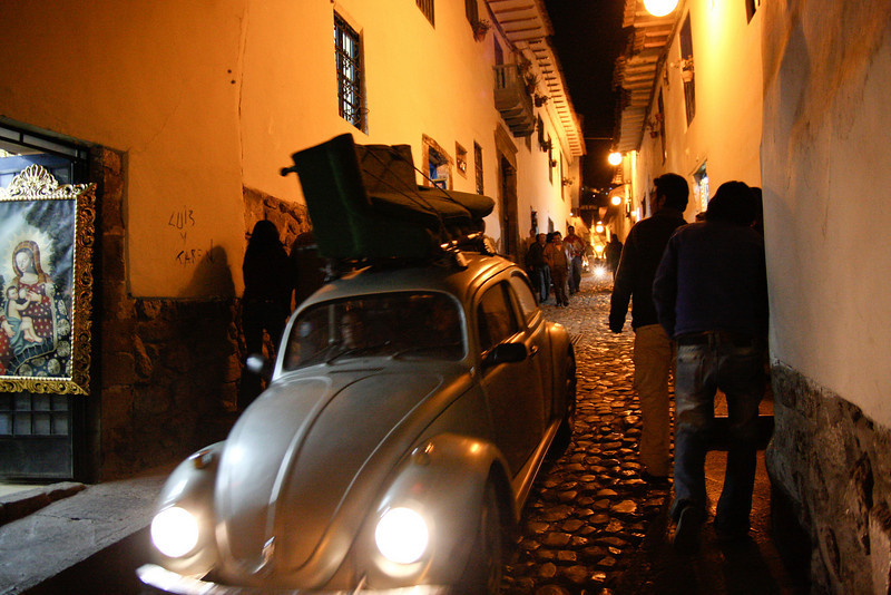 The ancient cobblestone streets of Cusco, Peru