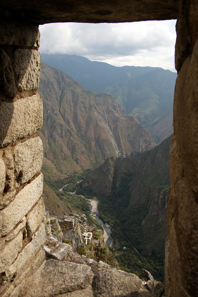 The view from Wayna Picchu, a steep mountain behind the ruined city of Machu Picchu