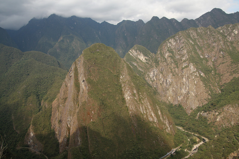 The mountains around Machu Picchu in the Peruvian Andes are incredibly steep and lush