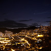 Cusco at night. The Plaza de Armas is visible in the lower left.