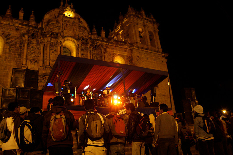 A rock concert in front of the 400-year old Cathedral of Santo Domingo in Cusco's Plaza de Armas drew a huge crowd